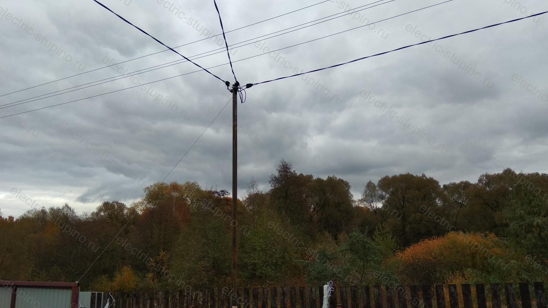 Подключение дома к электричеству на трубостойке